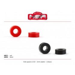 Separadores eje 3/32 plastico 2 mm ( 10 uds)